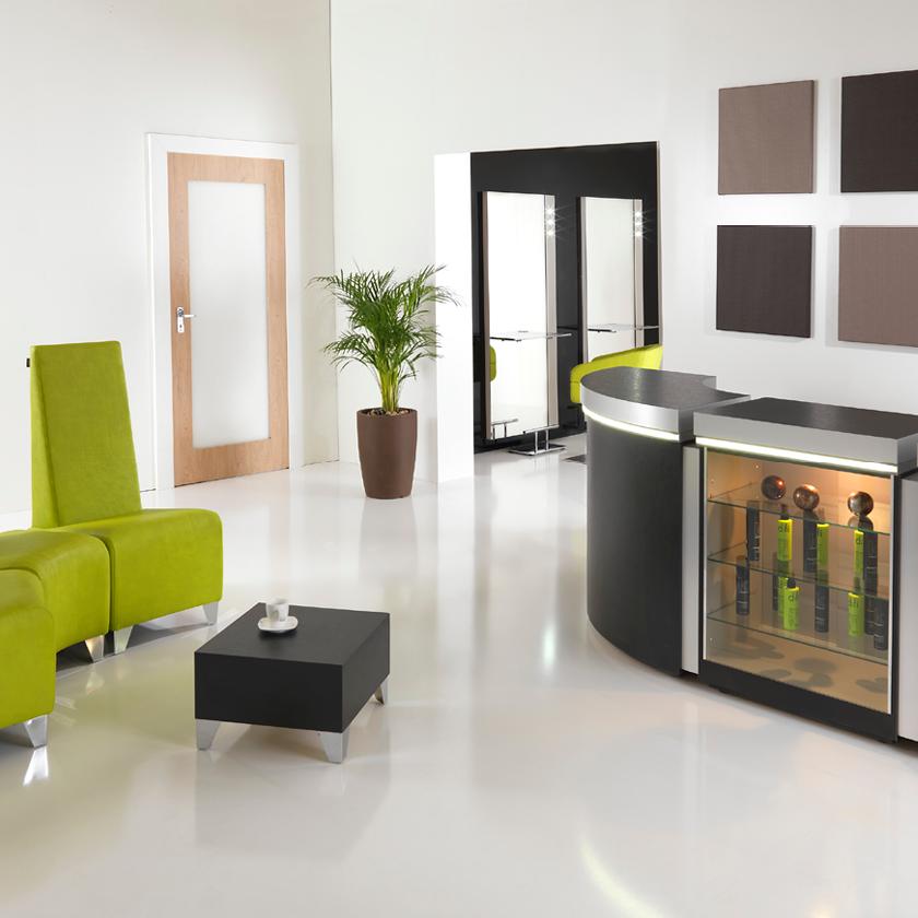 Our salon reception area commandments salons direct for A touch above salon