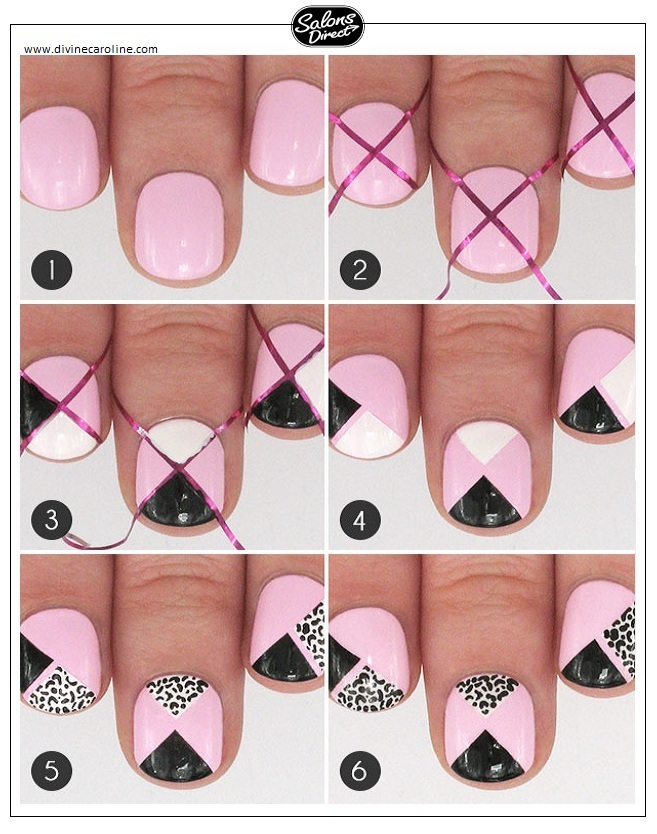 Step by step guide geometric leopard spots salons direct step 1paint your nails with a light pink base color and let dry step 2apply striping tape to your nails another way to get the look would be to cut prinsesfo Choice Image