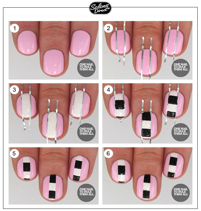 Step By Step Guide Pink Checkers Striped Nail Art Salons Direct