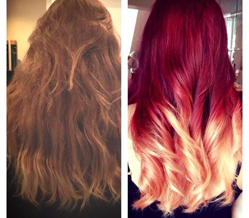 Jody Lee Sent Us This Amazing Red Into Blonde Ombre Look Via Facebook And We Absolutely Loved It She Says Seeing Before After Looks On Our