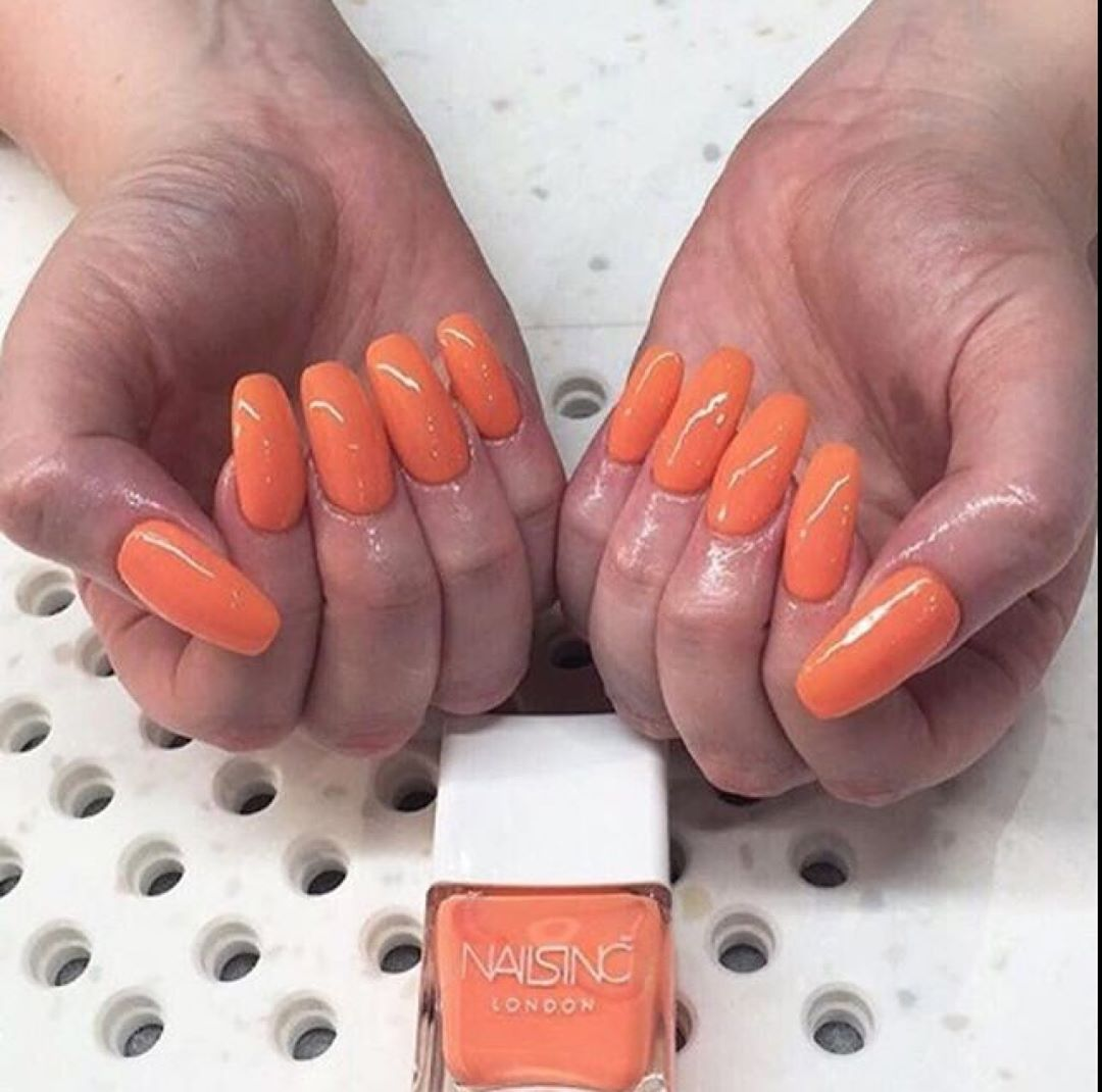 Tangerine dream by ronilou using nailsinc Coral Club Rainbow Riot