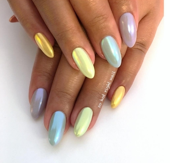 These metallic pastel colours are amazing Stunning set by sohotrightnail
