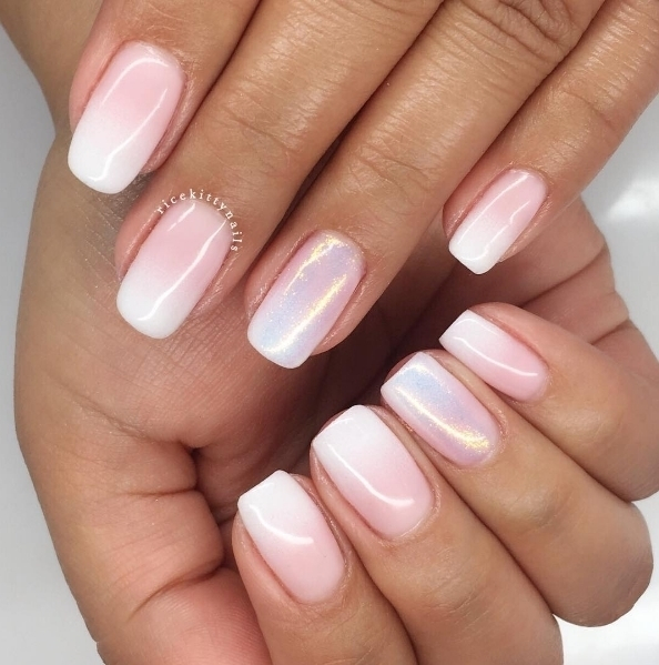 We love these pearly faded french mani nails by ricekittynails