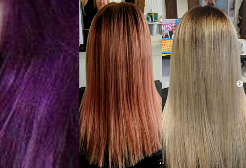 Purple hair with colour removed by Zalon Pro London before and after