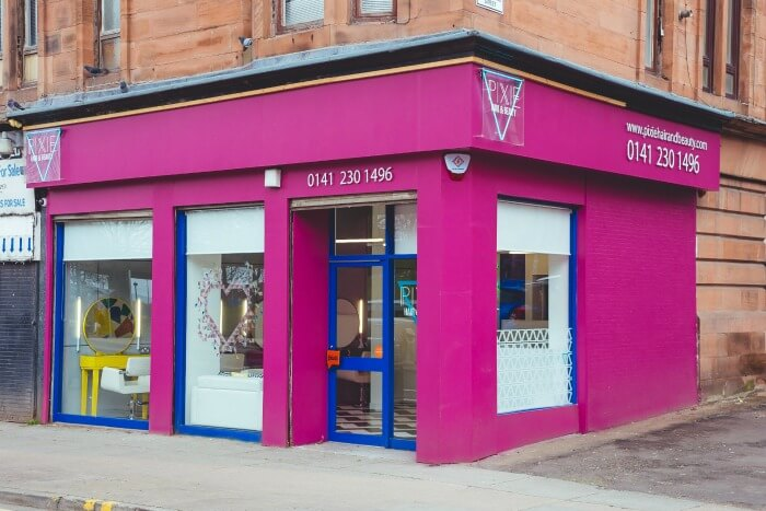Pixie Hair & Beauty Salon Glasgow pink shop exterior