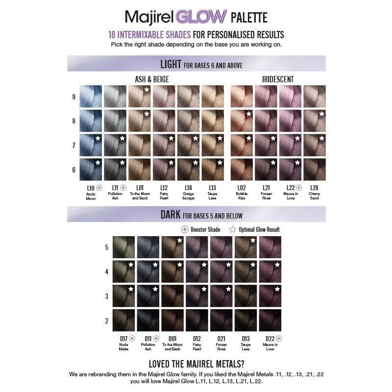 Loreal Majirel Glow Colour Chart Shade Swatches