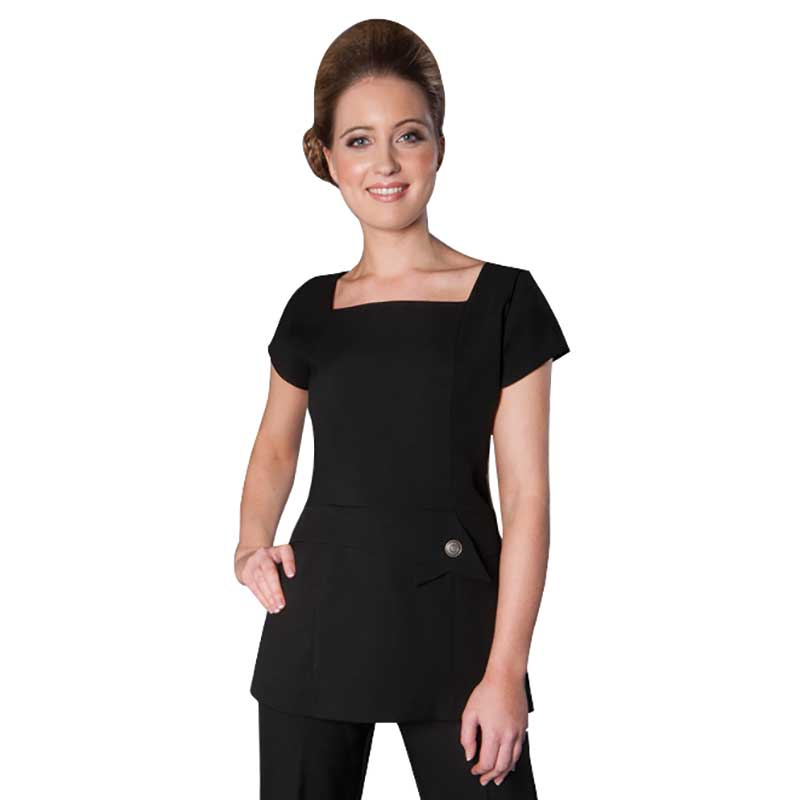 Enzo tunic black by florence roby salons direct for Spa uniform policy