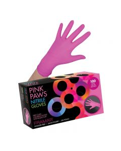 Framar Pink Paws Medium Nitrile Gloves x 100