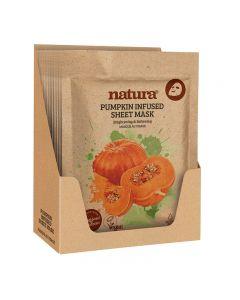 natura Pumpkin Infused Sheet Mask Display Box of 12
