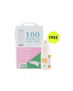 The Edge Active Tips x 100 Assorted. (Boxed) with FREE 3g Nail Glue