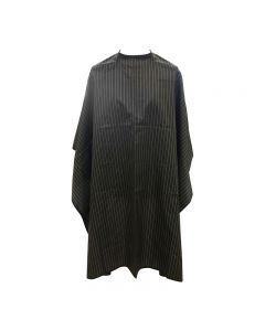 Salons Direct Black Pinstripe Barber Cape with Popper Fastening