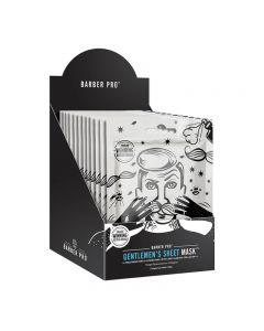 BARBER PRO Gentlemen's Sheet Mask Retail Display Case Box of 12