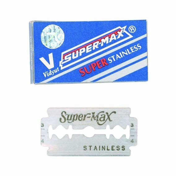 Super-Max Double Edged Razor Blades for AMA Trimmer + Lotus Razor Kit (10)