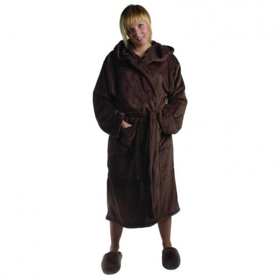 Medium Ultrasoft Fleece Robe Shawl Collar Chocolate
