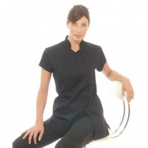 Black Mandarin Tunic Size 12  by Deo