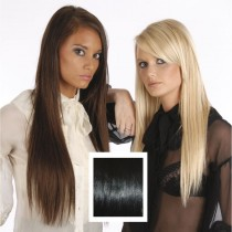 Universal 18in Jet Black 1 Clip in Human Hair Extensions 105g