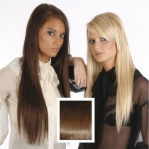 Universal 18in Red Chocolate Brown 5 Clip in Human Hair Extensions 105g