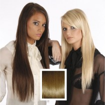 Universal 18in Medium Brown 6 Clip in Human Hair Extensions 105g