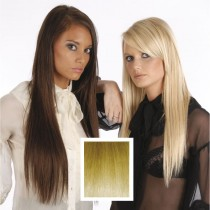 Universal 18in Golden Blonde 24 Clip in Human Hair Extensions 105g