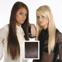 Universal 18in Dark Red Brown 32 Clip in Human Hair Extensions 105g