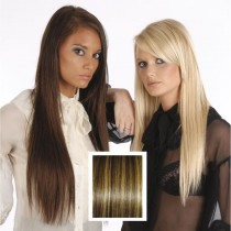 Universal 18in Chocolate Brown with Honey P4/27 Clip in Human Hair Extensions 105g