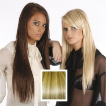 Universal 18in Ash Brown & Gold Blonde P10/24 Clip in Human Hair Extensions 105g