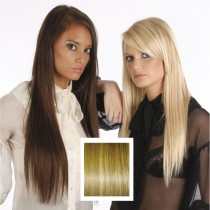 Universal 18in Ash Brown Medium Blonde Streaks P10/16 Clip in Human Hair Extensions 105g