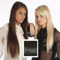 Universal 20in Very Dark Brown 2 Clip in Human Hair Extensions 105g