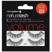 Salon System Naturalash Twin Pack Strip Eyelashes 107 Black