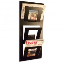 Three Tier Wall Mounted Magazine Rack Black