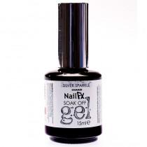 NailFX Silver Sparkle Soak Off Coloured Gel Polish 15ml