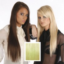 Universal 18in Ice Blonde Clip in Human Hair Extensions