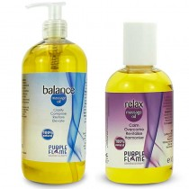Purple Flame Balance Therapeutic Massage Oil 500ml + FREE Relax 100ml