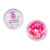Amy G Iridescent Pink Nail Art Sequins 0.5g by The Edge