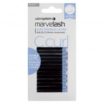 Marvelash C Curl Lashes 0.07 Double Layer Assorted Lengths Black by Salon System