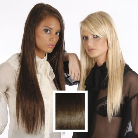 Universal 18in Chocolate Brown 4 Clip in Human Hair Extensions 105g