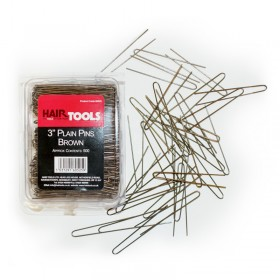 "Hair Tools Plain Pins 3"" Brown x 500"