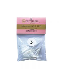 Glitterbels Clear Stiletto Nail Tips Size 3 (x50)