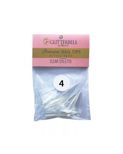Glitterbels Clear Stiletto Nail Tips Size 4 (x50)