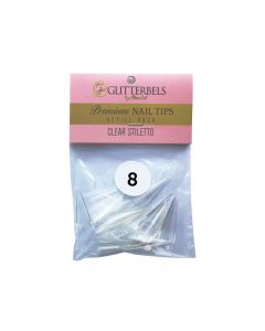 Glitterbels Clear Stiletto Nail Tips Size 8 (x50)
