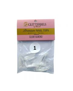 Glitterbels Clear Almond Nail Tips Size 1 (x50)