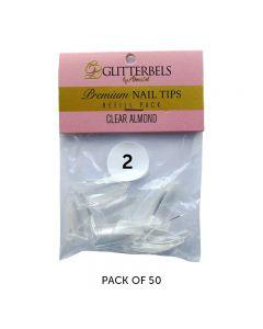 Glitterbels Clear Almond Nail Tips Size 2 (x50)