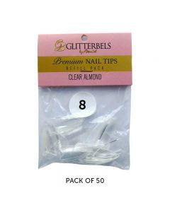 Glitterbels Clear Almond Nail Tips Size 8 (x50)