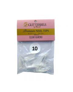 Glitterbels Clear Almond Nail Tips Size 10 (x50)