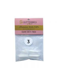 Glitterbels Square Matte Finish Nail Tips Size 3 (x50)
