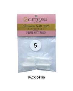 Glitterbels Square Matte Finish Nail Tips Size 5 (x50)
