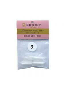 Glitterbels Square Matte Finish Nail Tips Size 9 (x50)