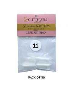 Glitterbels Square Matte Finish Nail Tips Size 11 (x50)