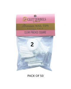 Glitterbels Clear Pinched Square Nail Tips Size 2 (x50)