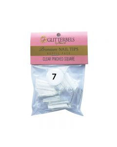 Glitterbels Clear Pinched Square Nail Tips Size 7 (x50)